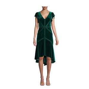 Green velvet high low cocktail dress